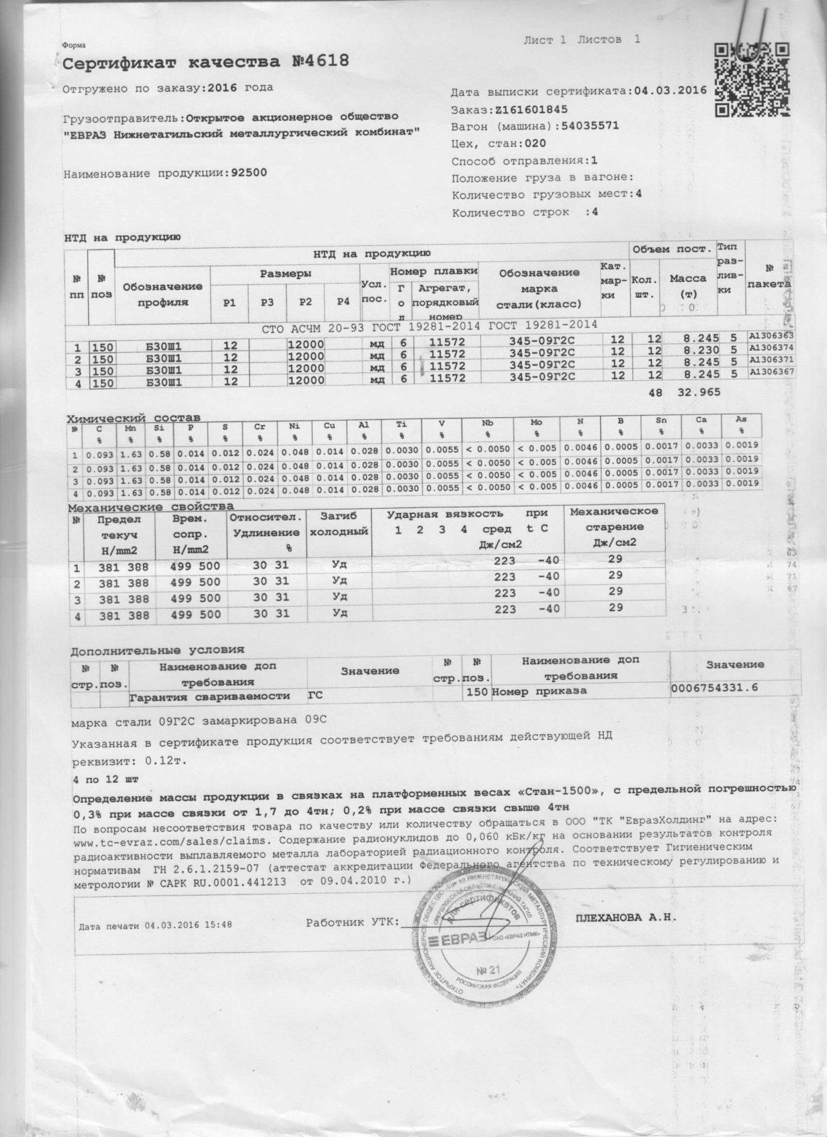 Балка 30Ш1 09г2с