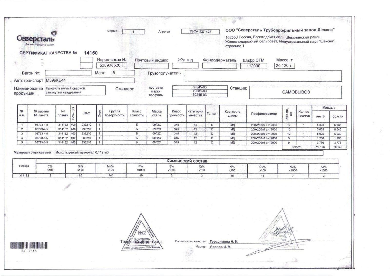 труба профильная 200х6 09Г2С