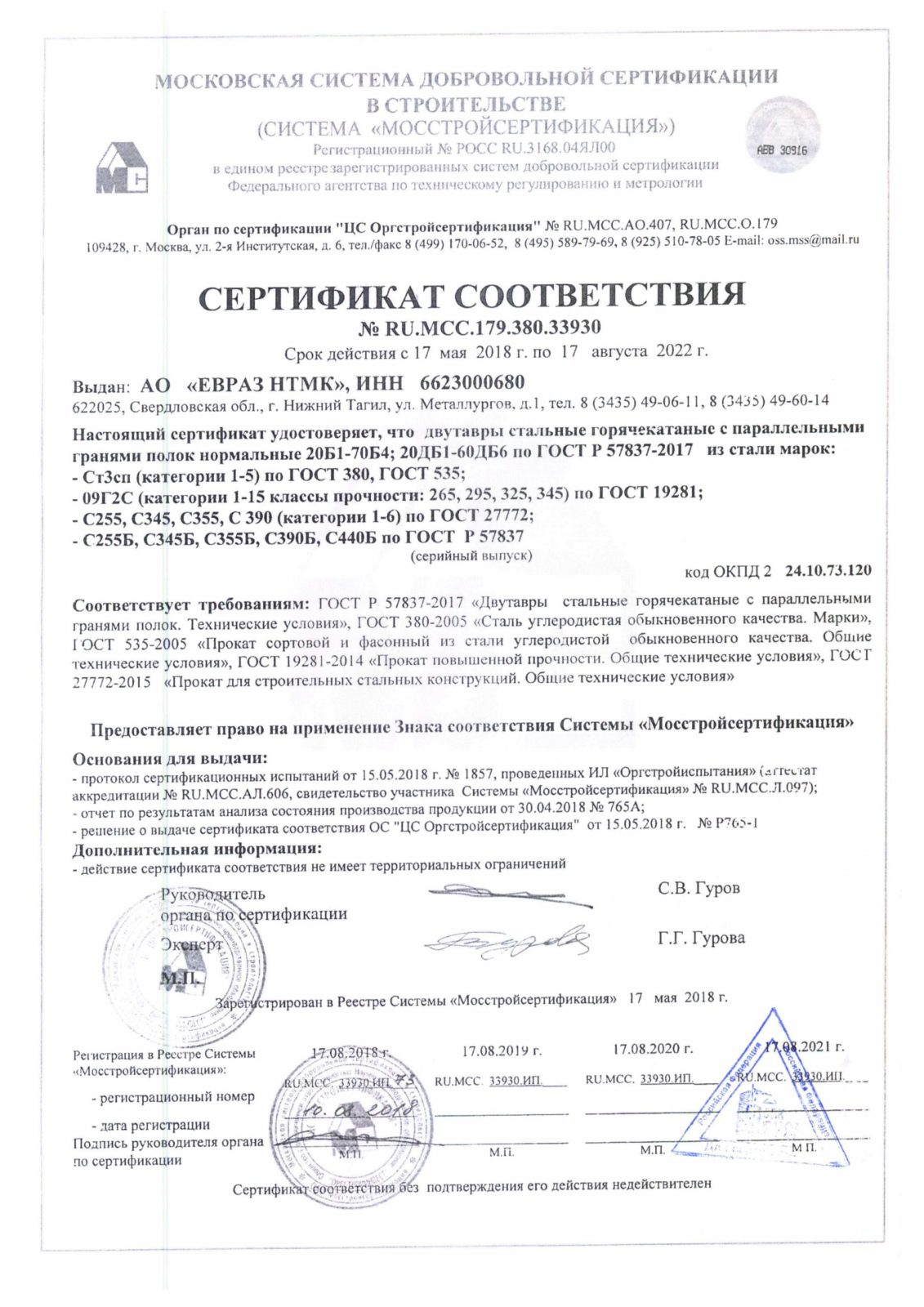 сертификат соответствия на балку двутаврувую 20Б1-70Б4