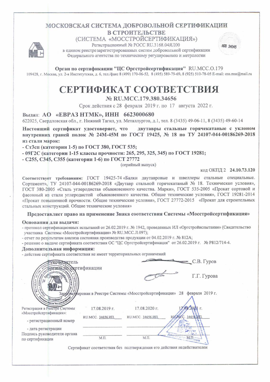 сертификат соответствия на балку двутаврувую 24М-45М
